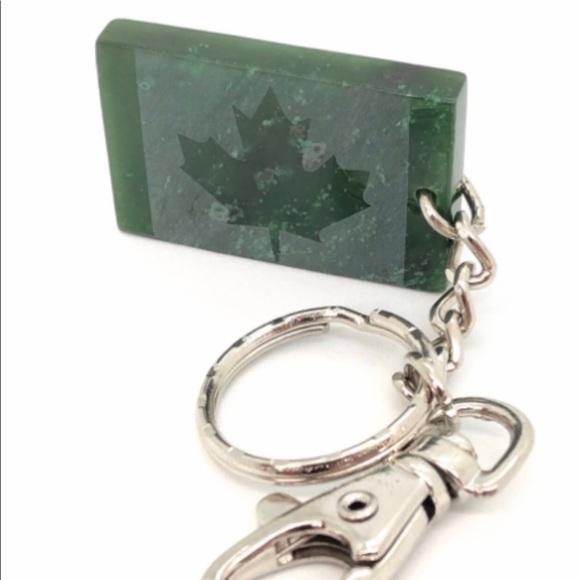 Accessories - Genuine Jade Maple Leaf Keychain